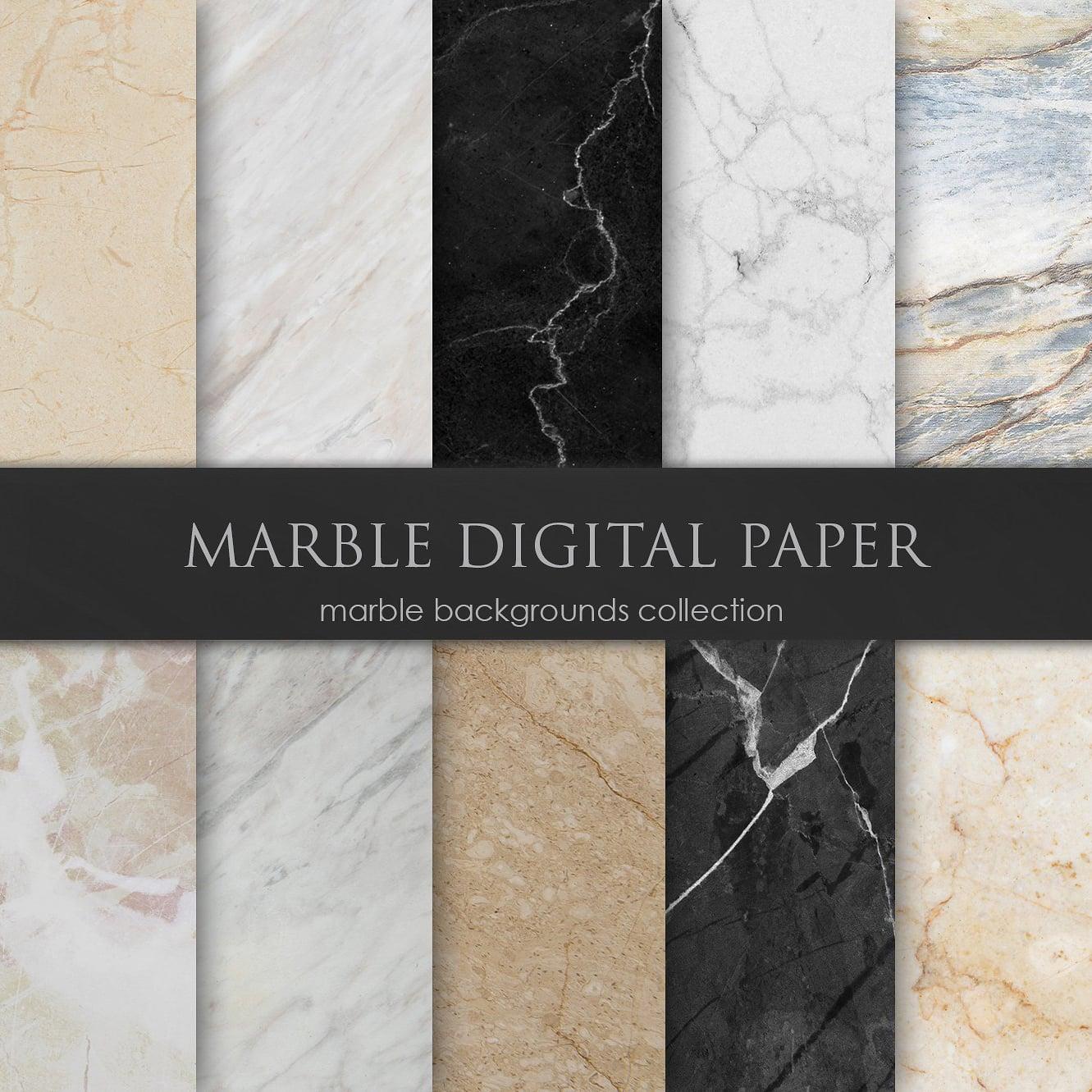 Black Marble Background Digital Paper