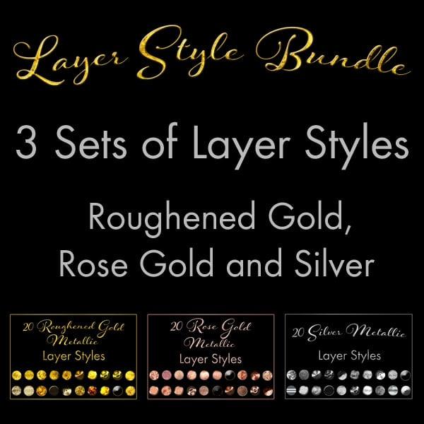60 Layer Styles Bundle – Gold Metallic, Rose Gold, Silver Metallic