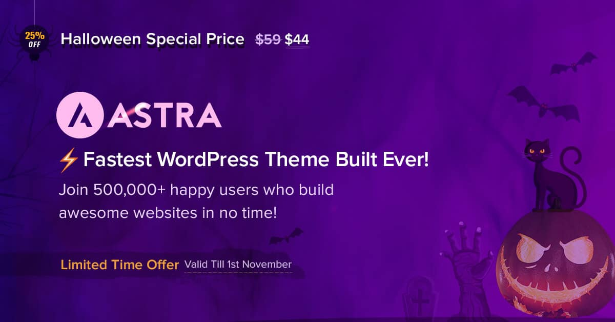 Astra Theme Halloween Discount - Ended 1st November