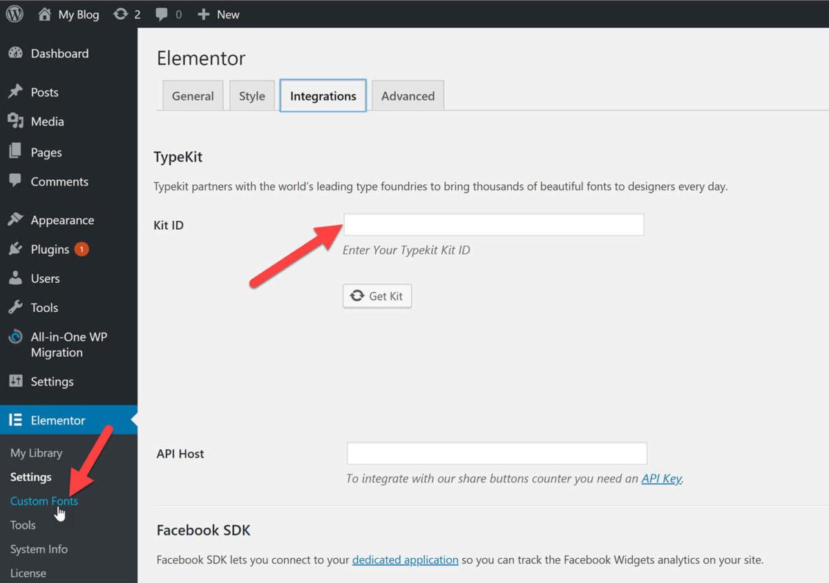 Elementor Pro: Typekit Integration