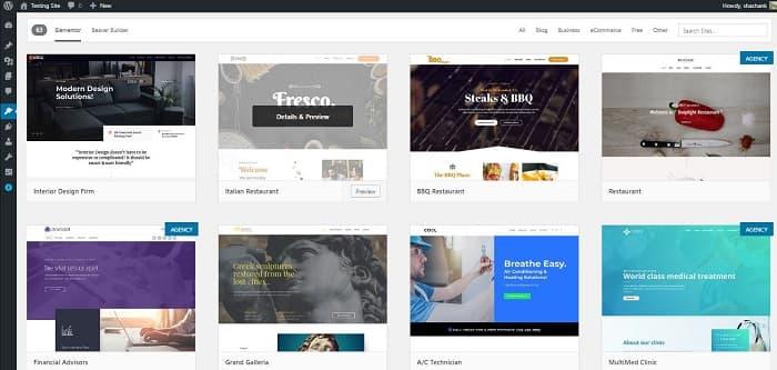 Astra Theme Starter Sites