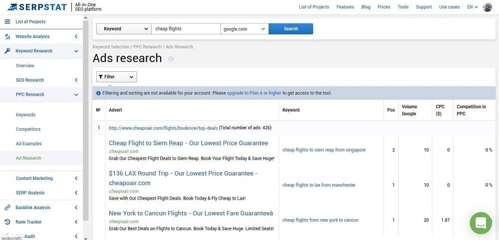 Serpstat Review: Advertising Analysis Tool