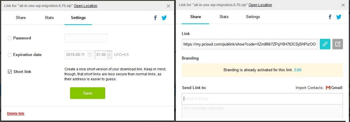 pCloud vs DropBox - pCloud Sharing Options