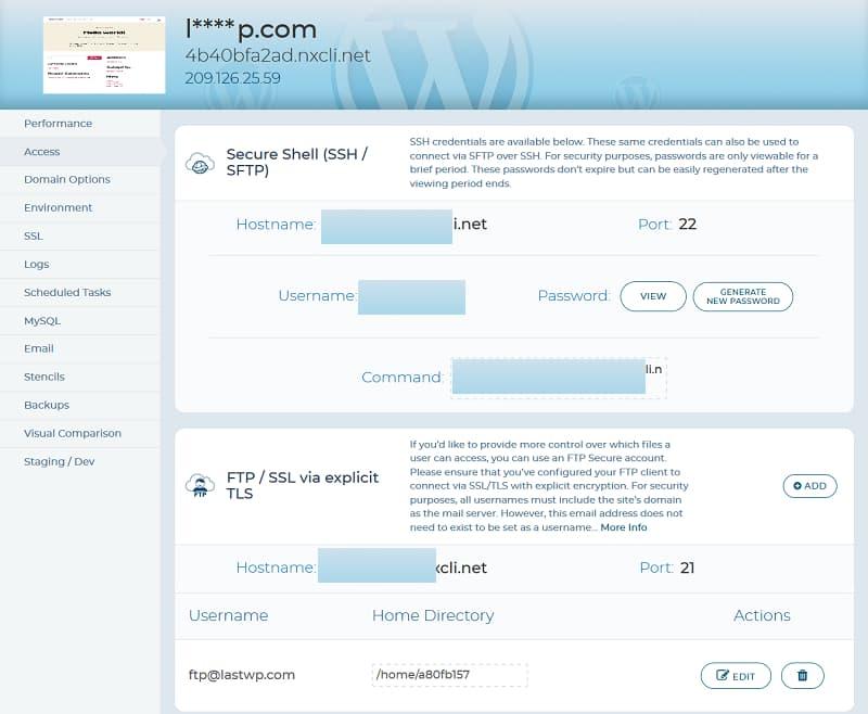 SSH, SSL, FTP, SFTP Access